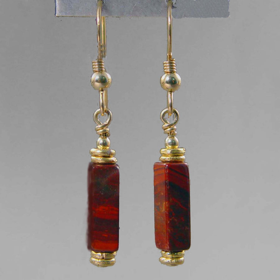 Poppy Jasper Rectangle Earrings