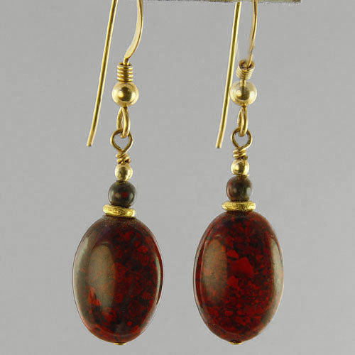 Poppy Jasper Oval Earrings