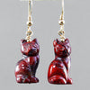 Poppy Jasper Cat Earrings