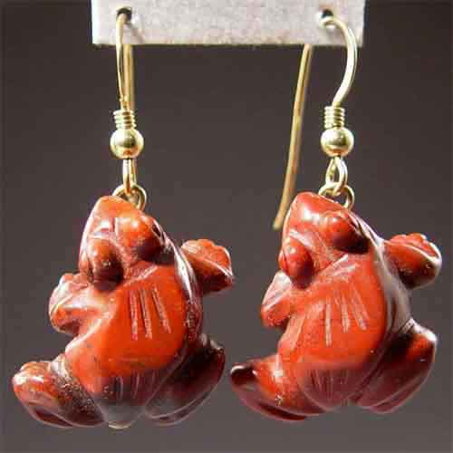 Poppy Jasper Frog Earrings