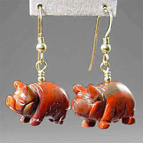 Poppy Jasper Pig Earrings