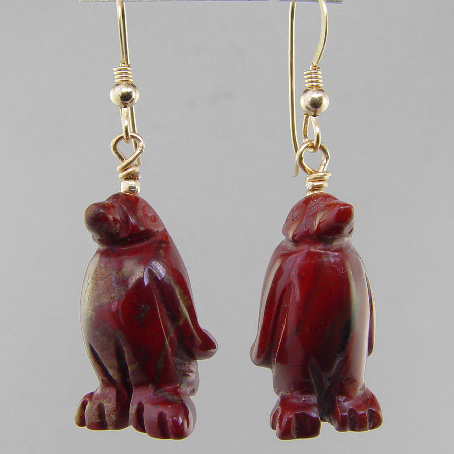 Poppy Jasper Penguin Earrings