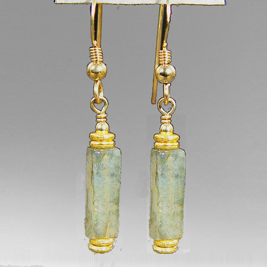 Labradorite Rectangle Earrings