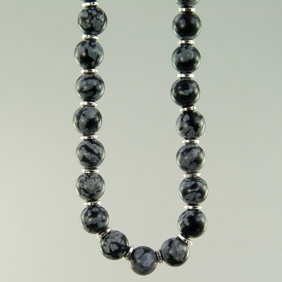 Snowflake Obsidian Classic Round Necklace