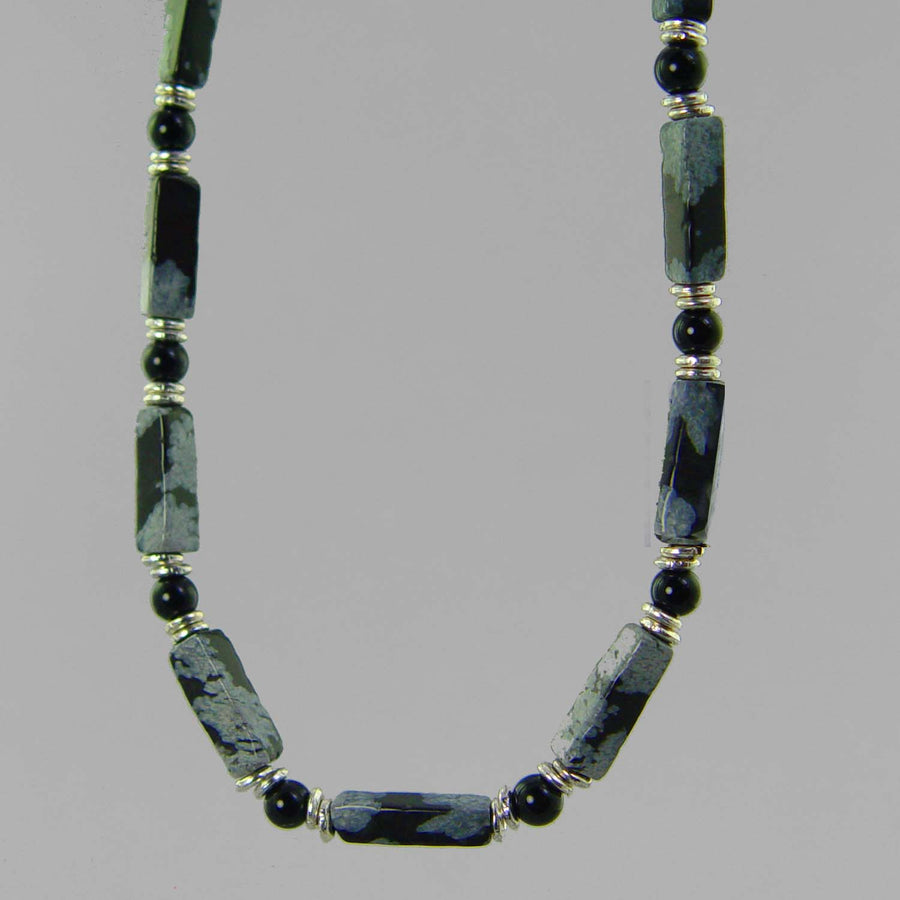 Snowflake Obsidian Rectangle Necklace