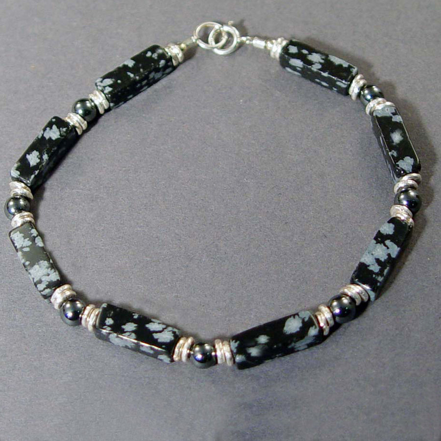 Snowflake Obsidian Rectangle Bracelet