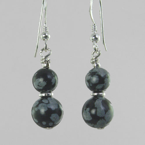 Snowflake Obsidian Classic Drop Earrings