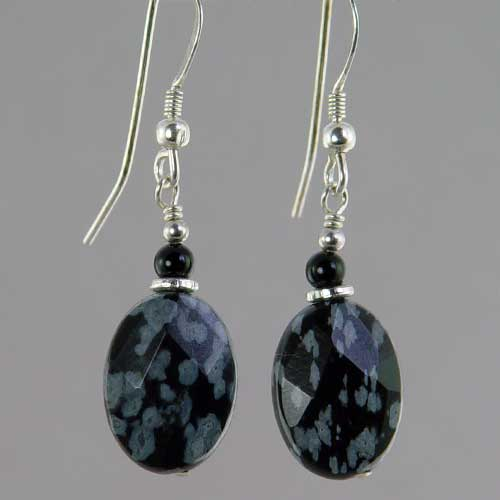 Snowflake Obsidian Oval Earrings