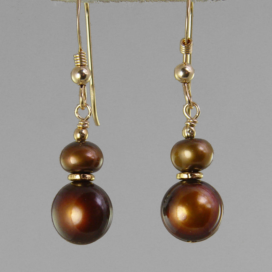 Copper Pearl Classic Drop Earrings