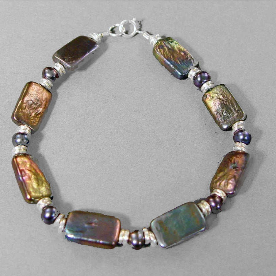 Iridescent Pearl Rectangle Bracelet