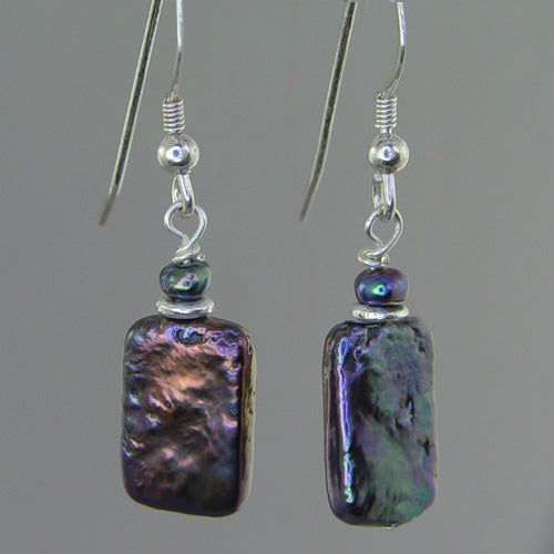 Iridescent Pearl Rectangle Earrings