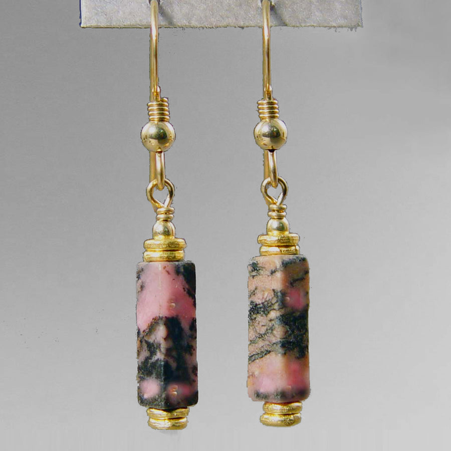 Rhodonite Rectangle Earrings