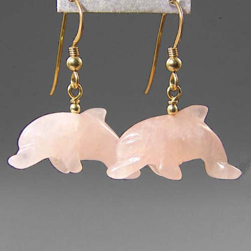 Rose Quartz Dolphin Earrings