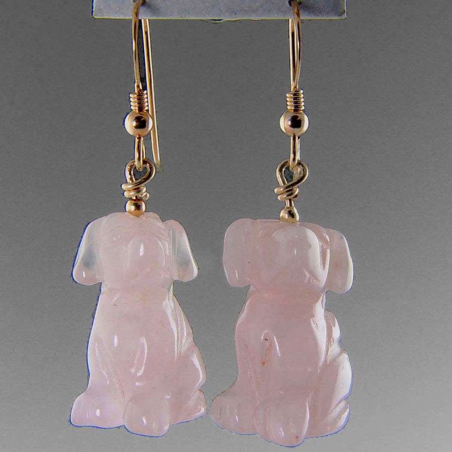 Rose Quartz Dog Earrings
