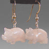 Rose Quartz Pig Earrings