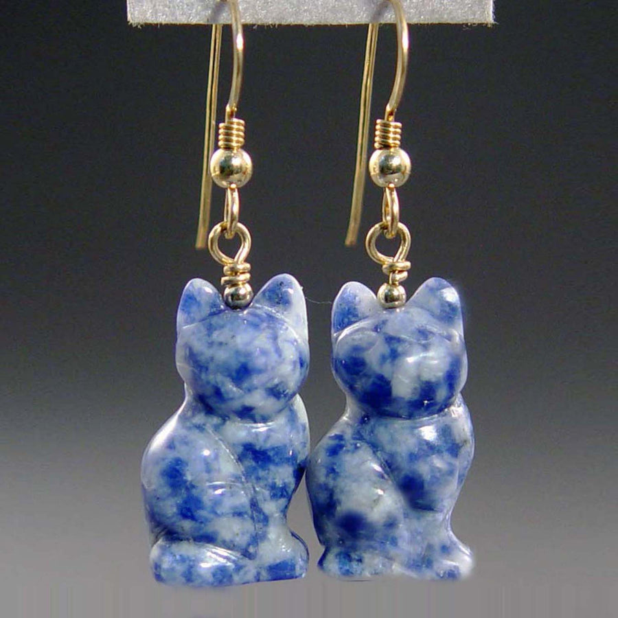 Sodalite Cat Earrings