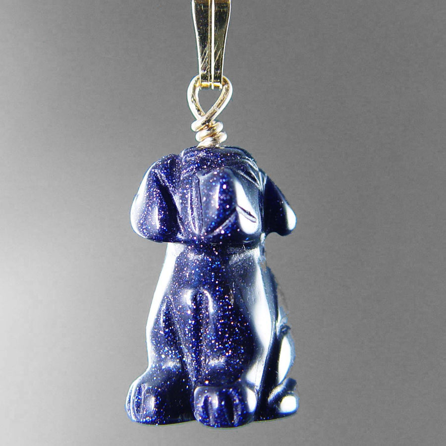 Blue Goldstone Dog Pendant