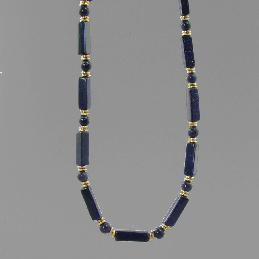 Blue Goldstone Rectangle Necklace