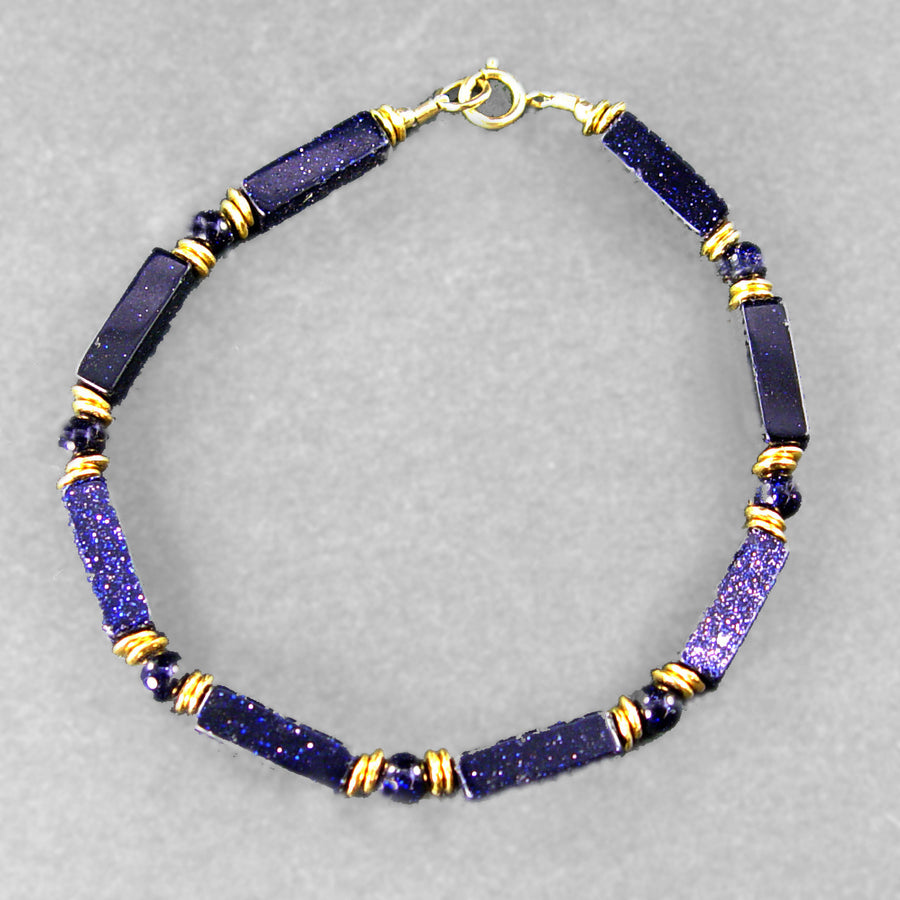Blue Goldstone Rectangle Bracelet
