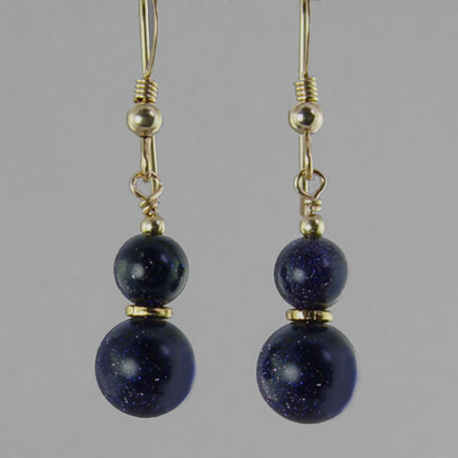 Blue Goldstone Classic Drop Earrings