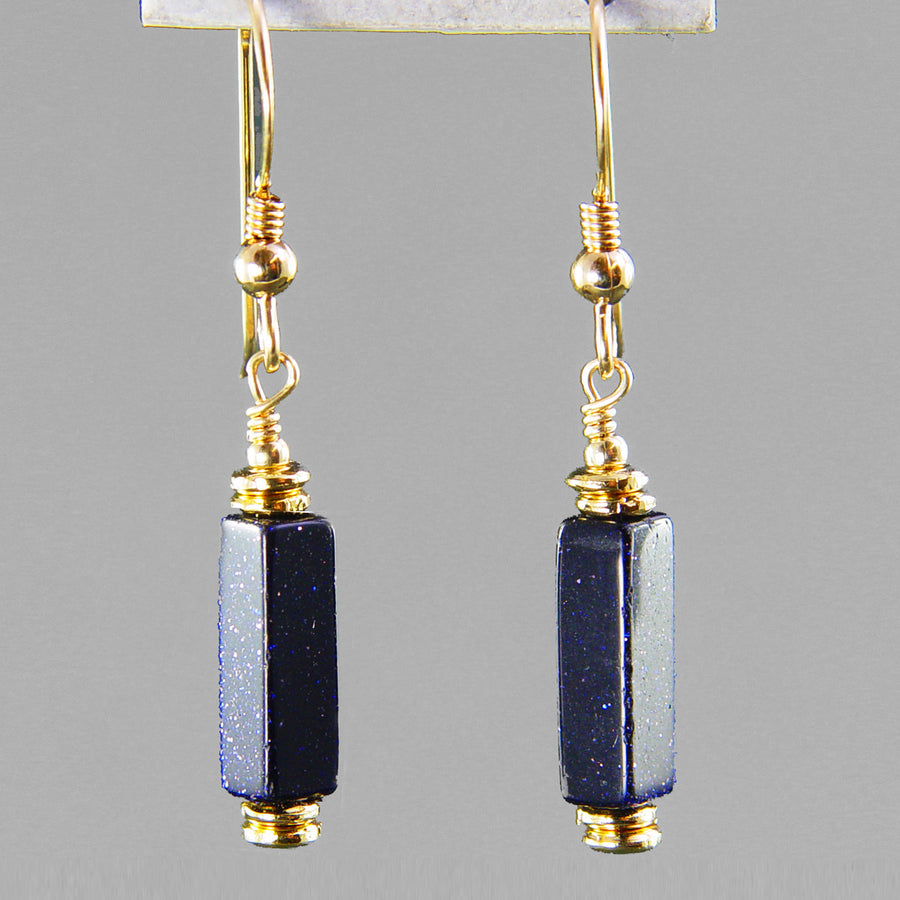 Blue Goldstone Rectangle Earrings