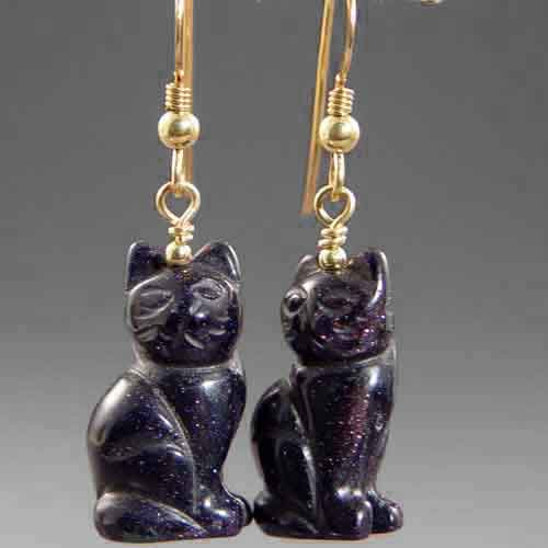 Blue Goldstone Cat Earrings