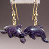 Blue Goldstone Dolphin Earrings