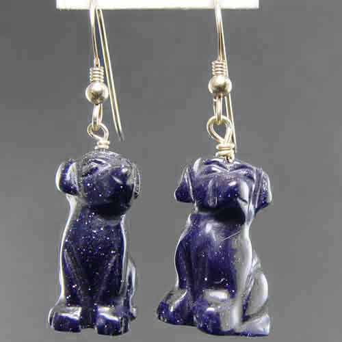 Blue Goldstone Dog Earrings