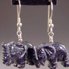 Blue Goldstone Elephant Earrings