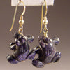 Blue Goldstone Frog Earrings