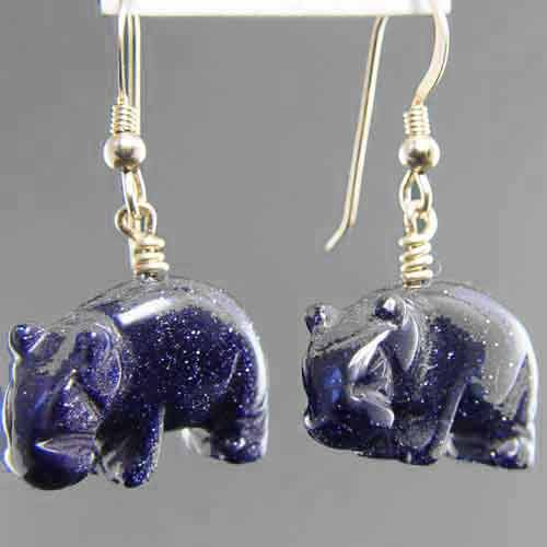 Blue Goldstone Hippo Earrings