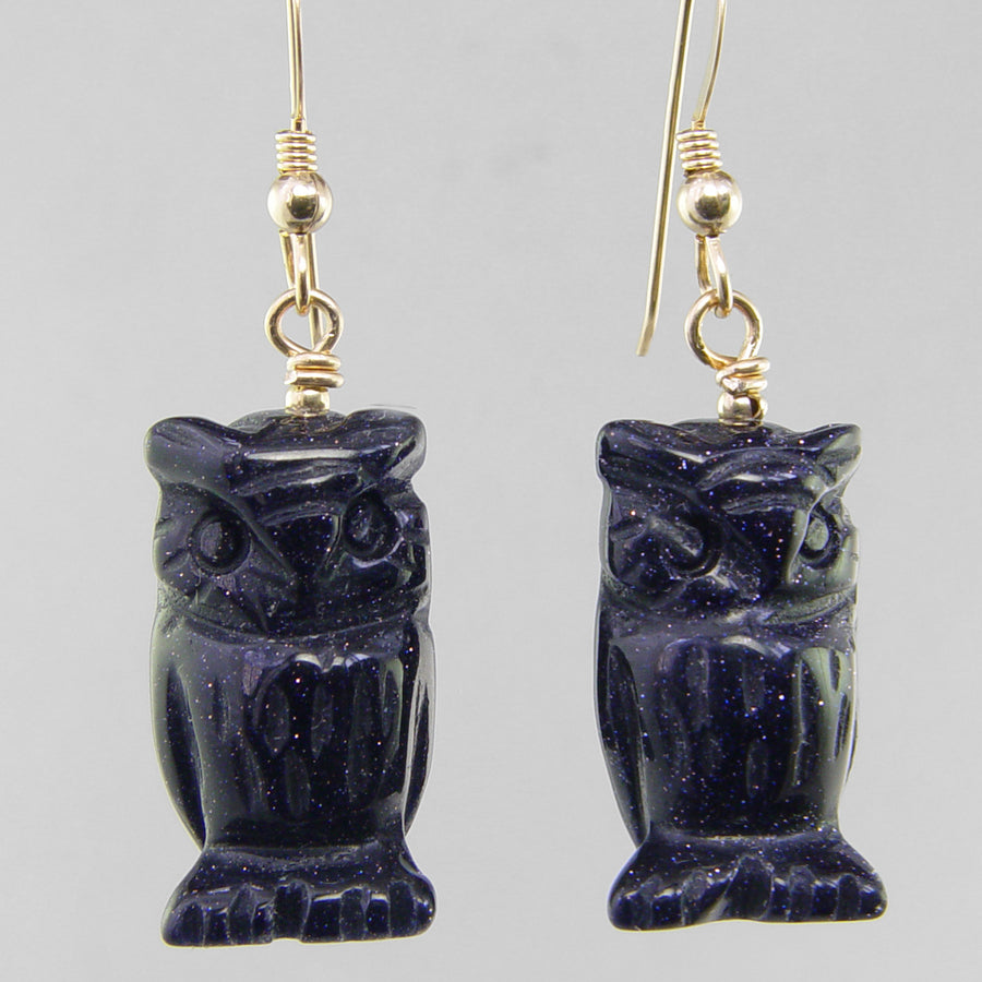 Blue Goldstone Owl Earrings
