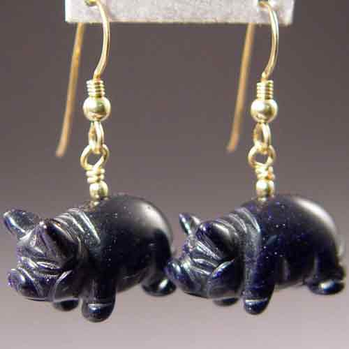 Blue Goldstone Pig Earrings