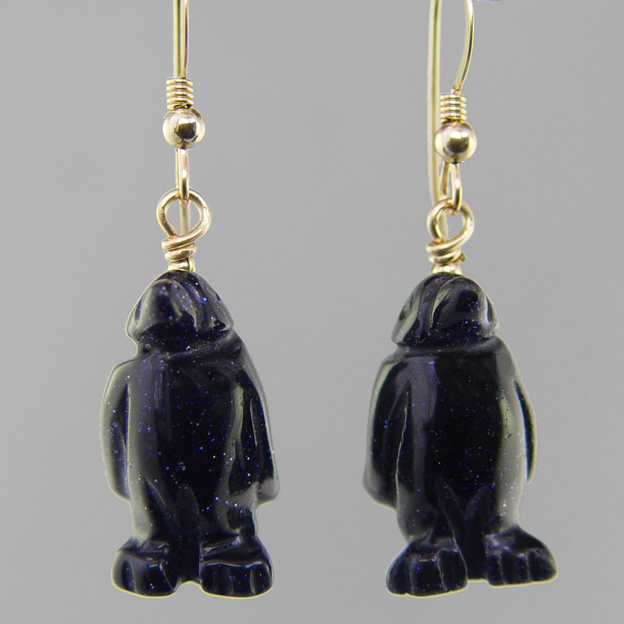 Blue Goldstone Penguin Earrings