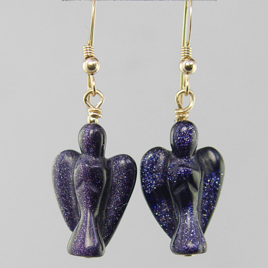 Blue Goldstone Angel Earrings