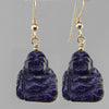 Blue Goldstone Buddha Earrings