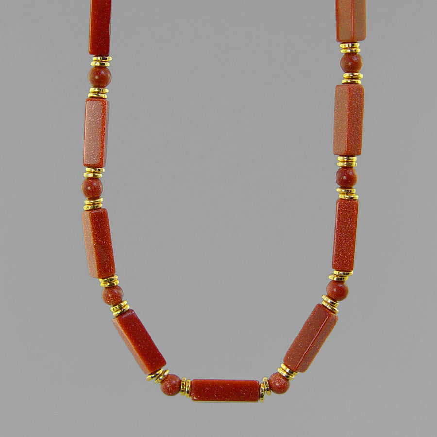 Goldstone Rectangle Necklace