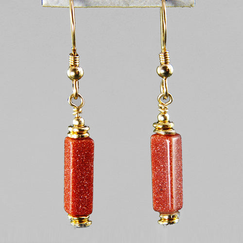 Goldstone Rectangle Earrings