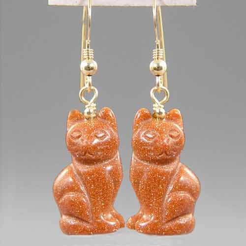 Goldstone Cat Earrings
