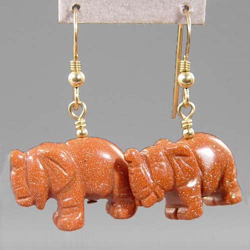 Goldstone Elephant Earrings