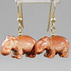 Goldstone Hippo Earrings