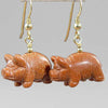 Goldstone Pig Earrings