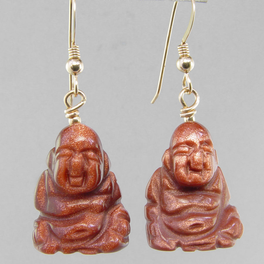 Goldstone Buddha Earrings