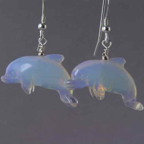 Sea Opal Dolphin Earrings