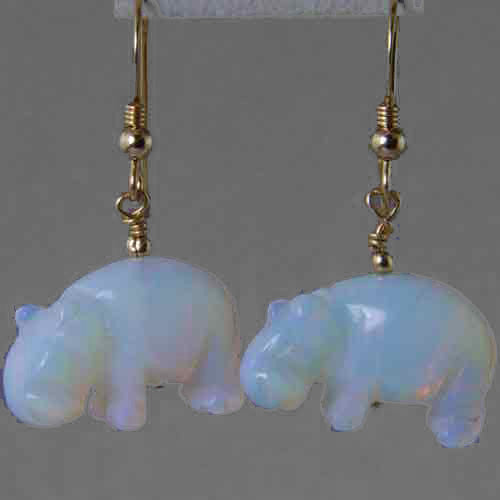 Sea Opal Hippo Earrings