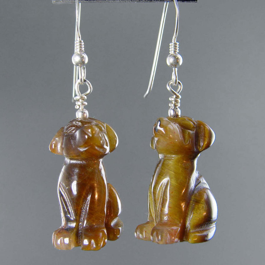 Tigereye Dog Earrings