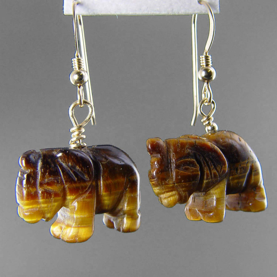 Tigereye Elephant Earrings