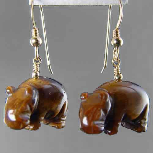 Tigereye Hippo Earrings