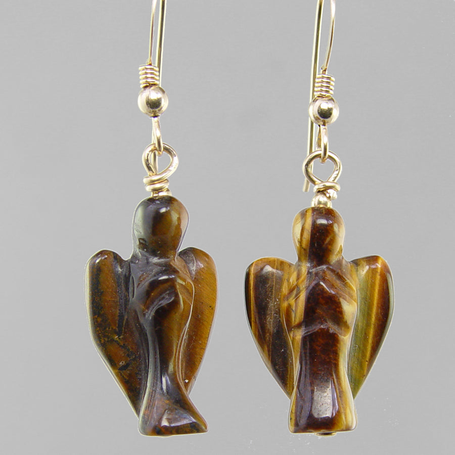 Tigereye Angel Earrings