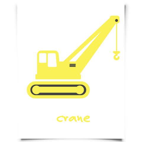 Construction Crane Nursery Art - Yellow
